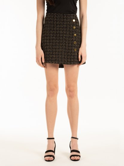 Jacquard skirt with buttons