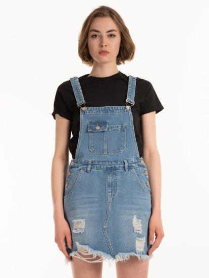 Denim dungaree skirt