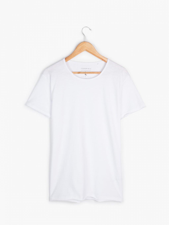 T-shirt basic z surowym dołem