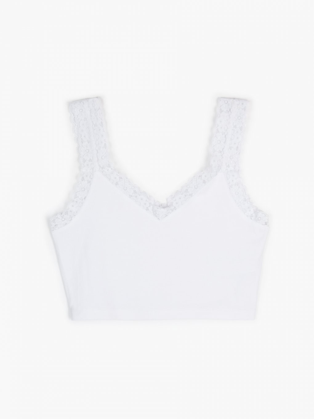 Cotton crop top with lace