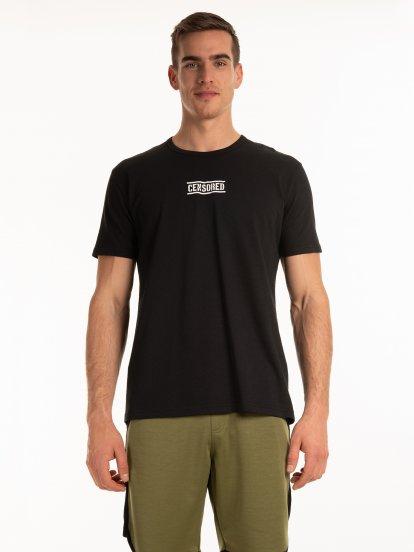 T-shirt ze strukturą i napisem