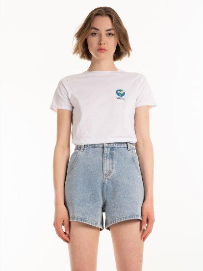 Bawełniana koszulka z haftem