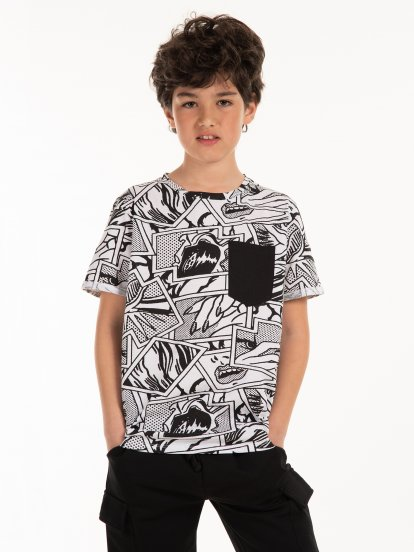 Printed cotton t-shirt with pocket