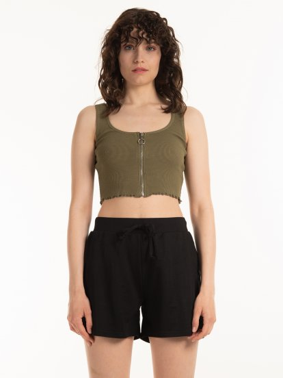 Waffle knit crop top with zipper
