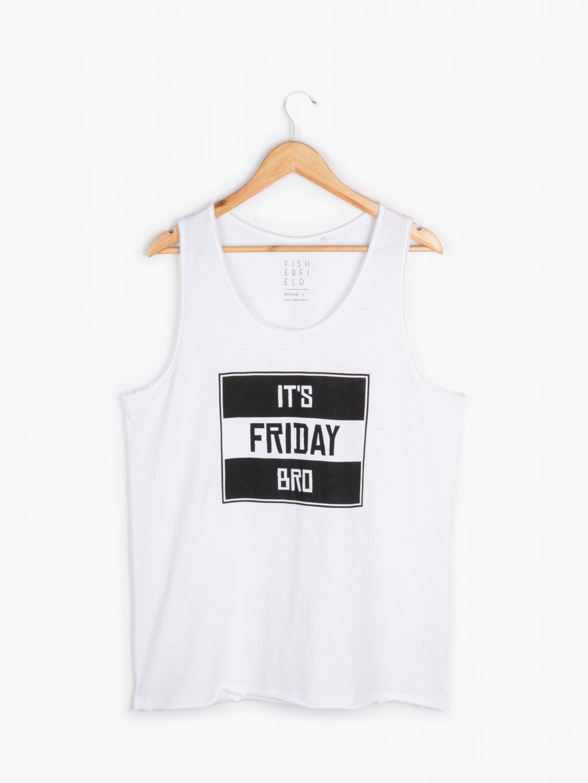 Slogan print cotton tank