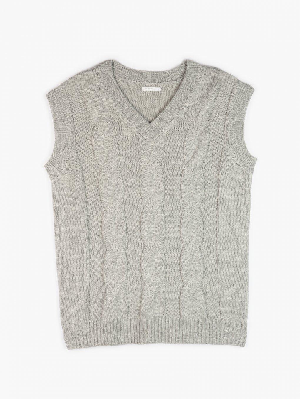 Cable-knit long vest
