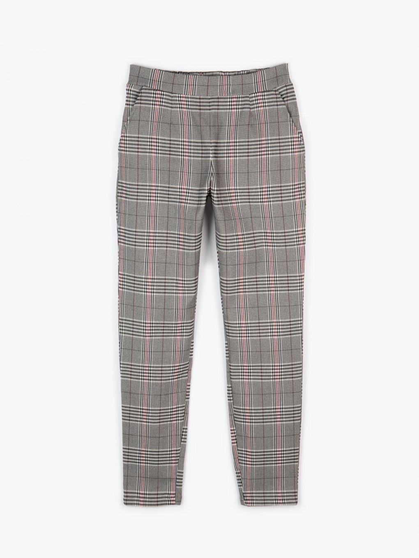 Elastické kárované kalhoty