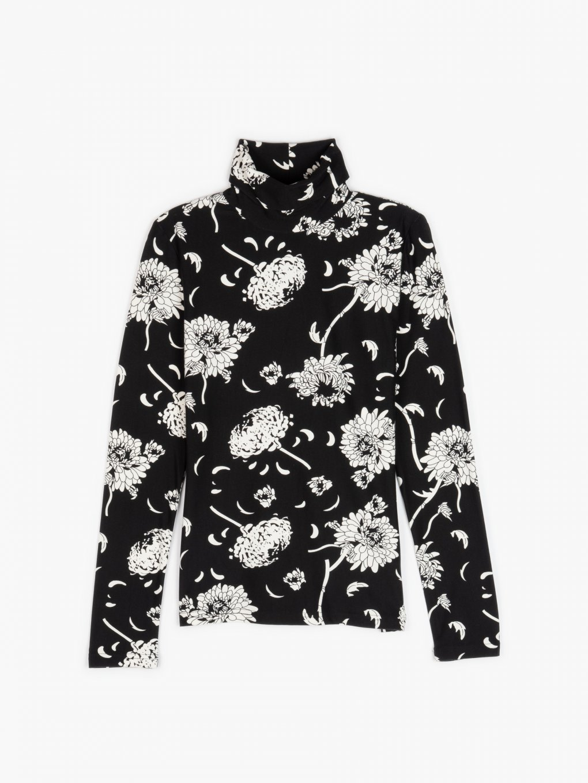 Floral print rollneck top