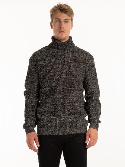 Marled rollneck pullover
