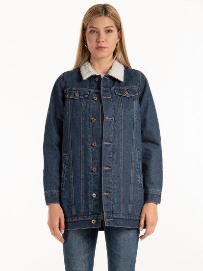 Longline sherpa lined denim jacket