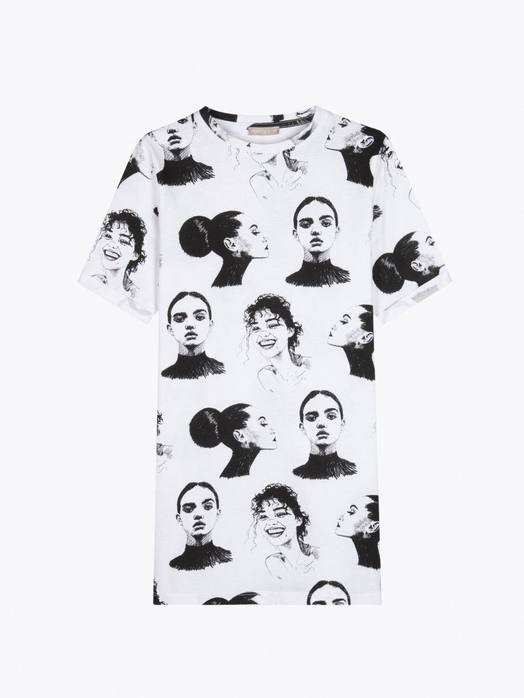 Prodloužené potištěné bavlněné tričko