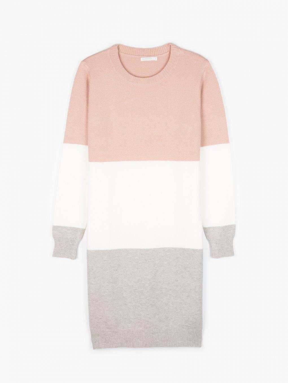 Vícebarevné pletené šaty