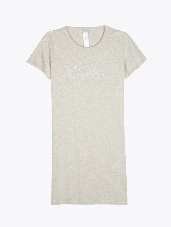 Cotton night dress with slogan print