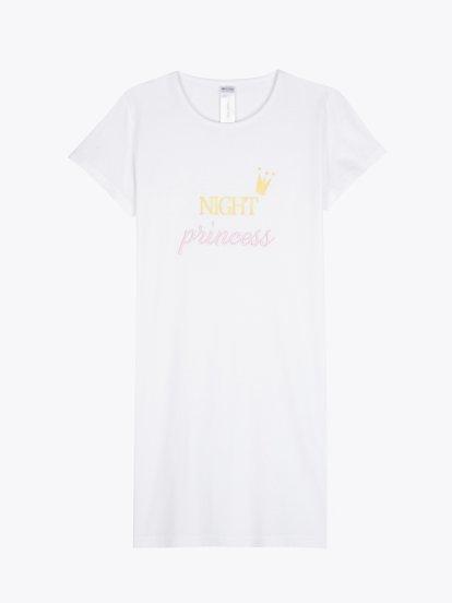 Cotton night dress with slogan