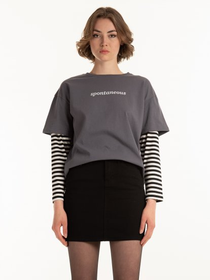 Cotton t-shirt with striped sleeves