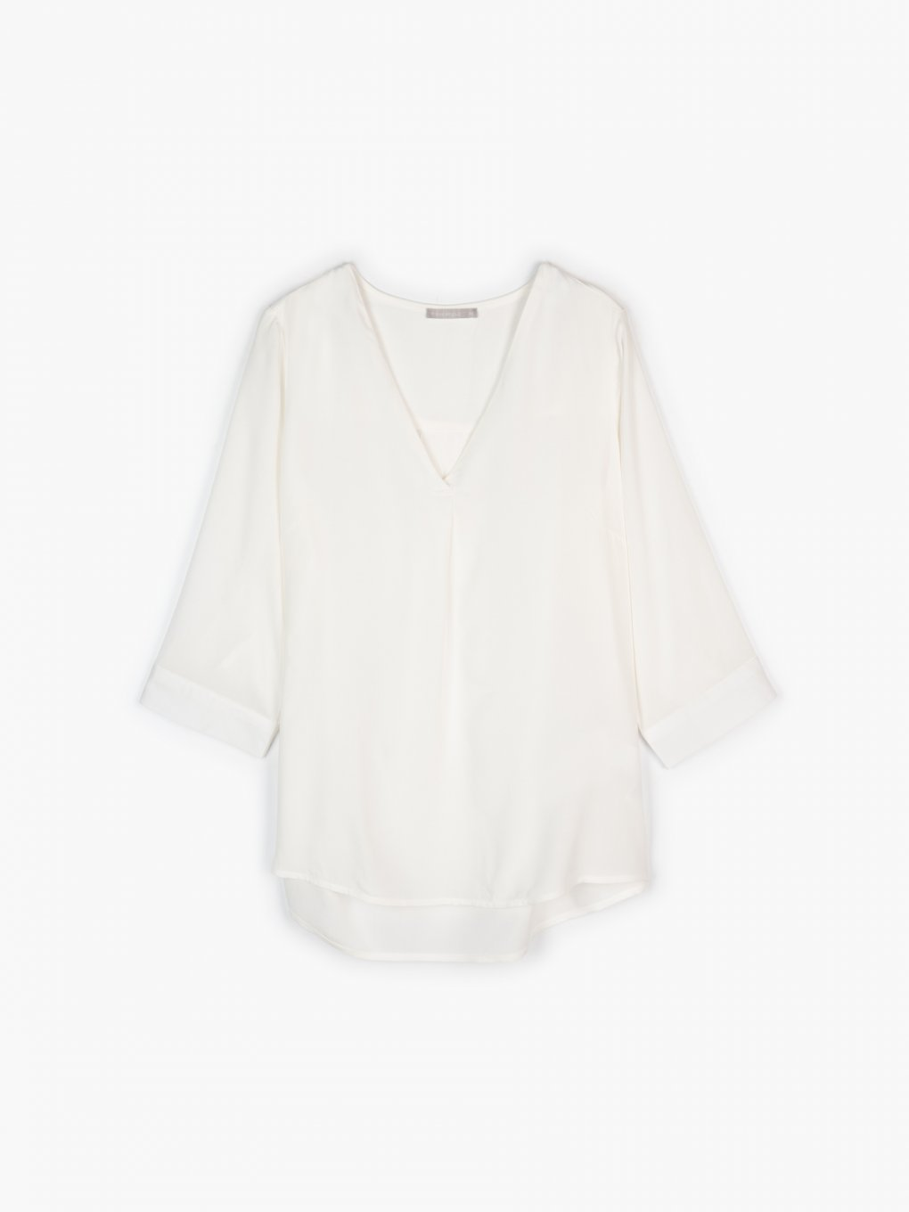 V-neck blouse with roll- up sleeves