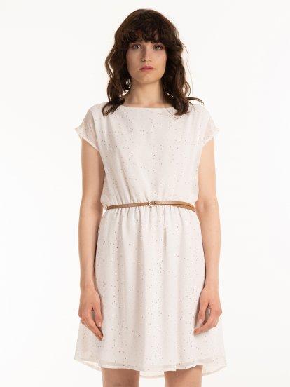 Potištěné šaty s páskem