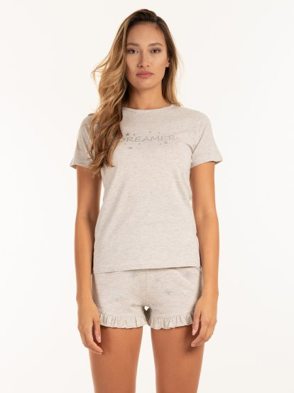 Pyjama top with print
