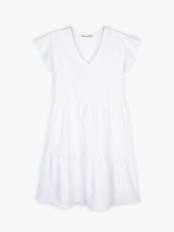 Linen blend ruffled dress