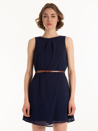 Chiffon dress with belt