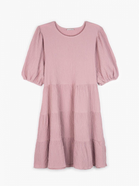 Texturované šaty s balonovým rukávem