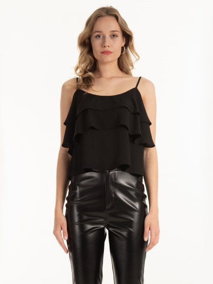 Strappy ruffled blouse top