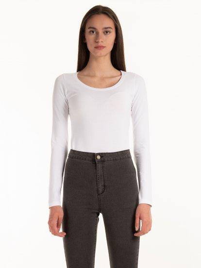 Základní elastické tričko s dlouhým rukávem