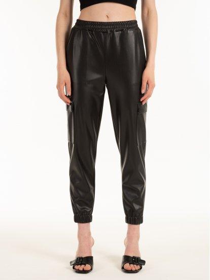 Kapsáčové kalhoty s imitace kůže