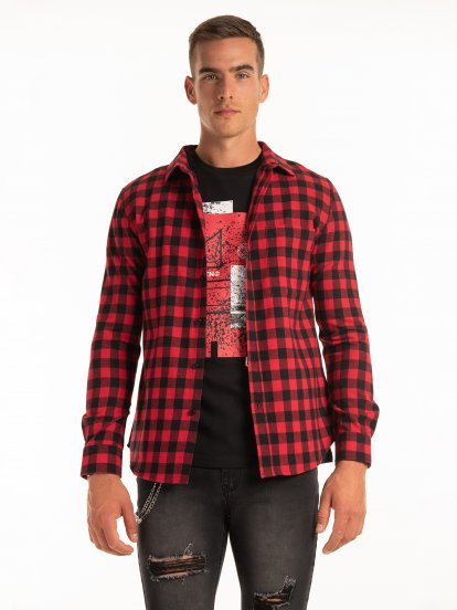 Károvaná bavlněná košile regular fit
