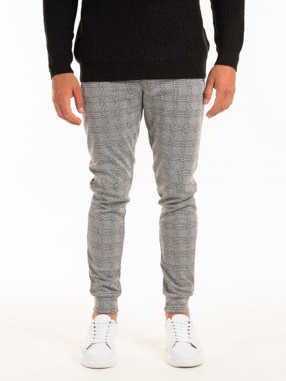 Kárované kalhoty z úpletu