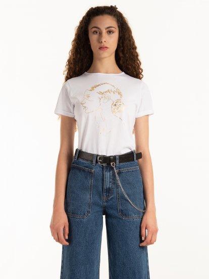 Bavlněné tričko se zlatým grafickým potiskem