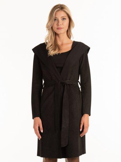 Lehký kabát z imitace semiše