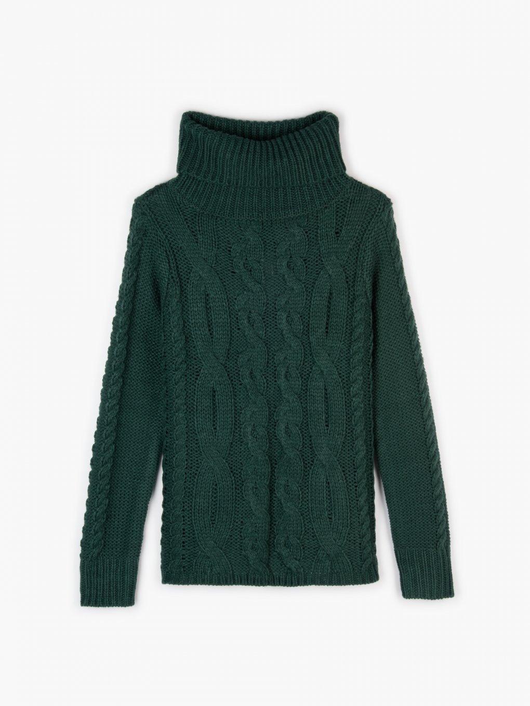 Cable-knit rollneck jumper