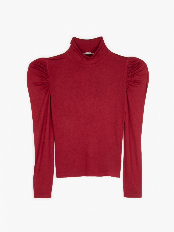 Frilled sleeve high collar top