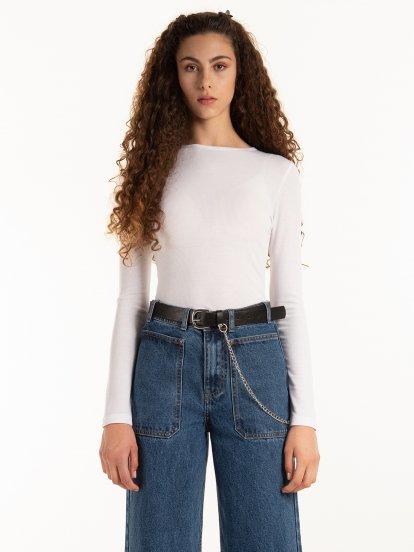 T-shirt basic w prążki