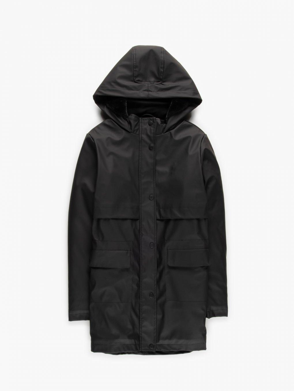 Dlhá nepremokavá zateplená prechodná bunda s kapucňou dámska