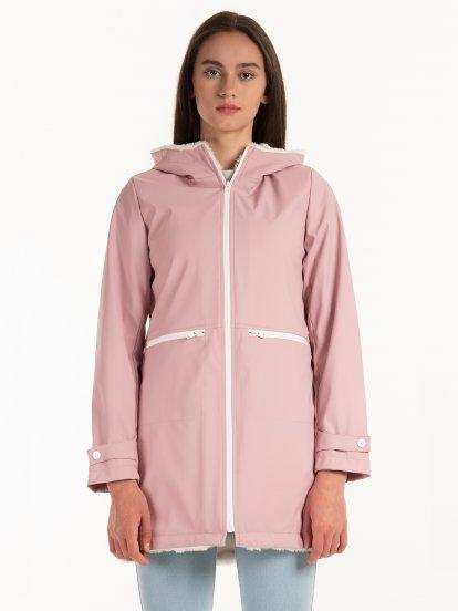 Dlouhá nepromokavá zateplená přechodná bunda s kapucí dámská