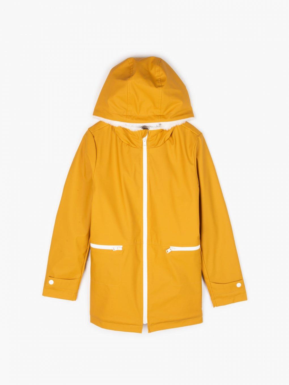 Dlouhá nepromokavá zateplená přechodná bunda s kapucí dívčí