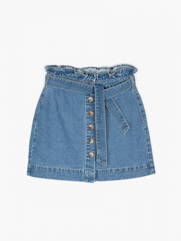 Denim mini skirt with belt