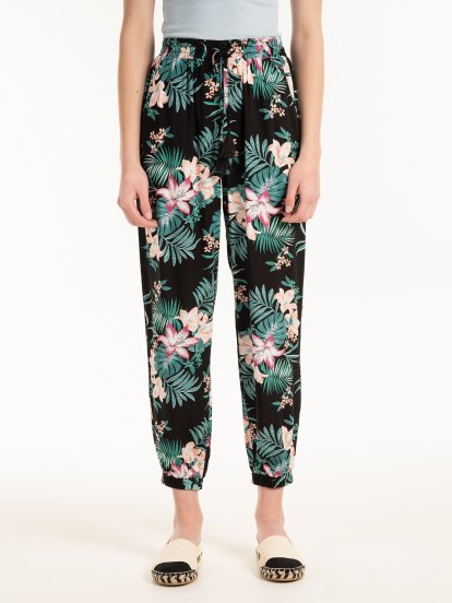 Spodnie harem w kwiatowy print