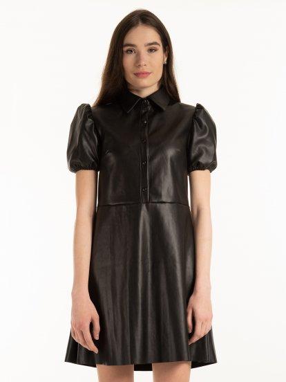 Sukienka ze sztucznej skóry