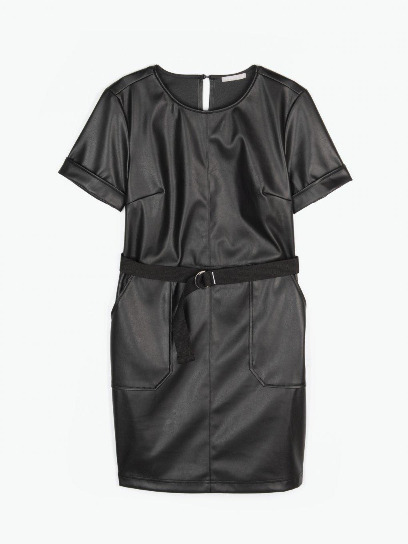 Koženkové šaty s páskem