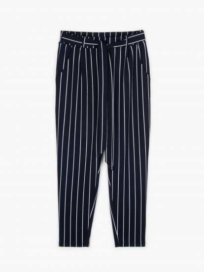 Striped trousers with belt