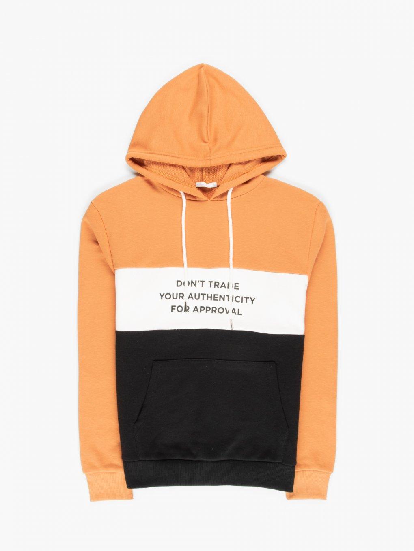 Colour block hoodie with slogan print