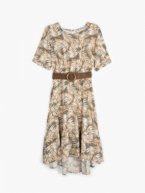 Vzorované šaty s opaskom