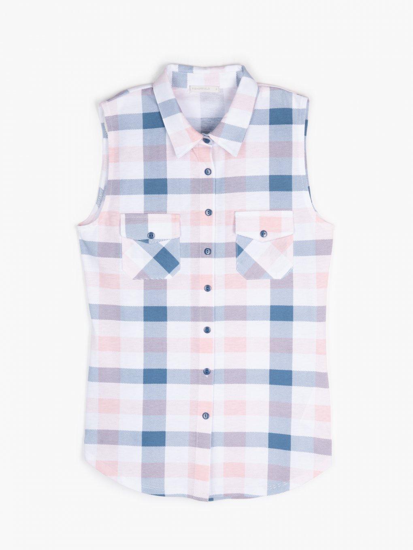 Plaid sleeveless shirt