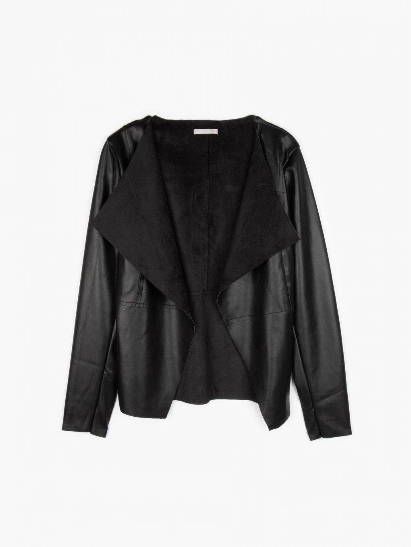 Faux leather blazer