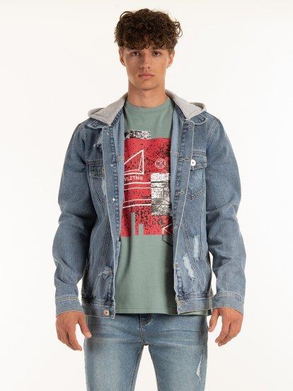 Džínová bunda s odnímatelnou kapucí