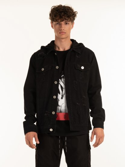 Denim jacket with removable hood