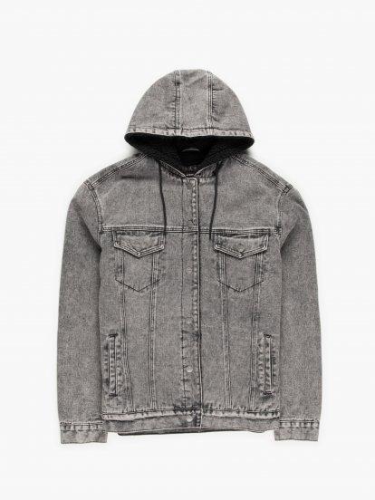 Denimová bunda s plyšovou podšívkou s kapucí